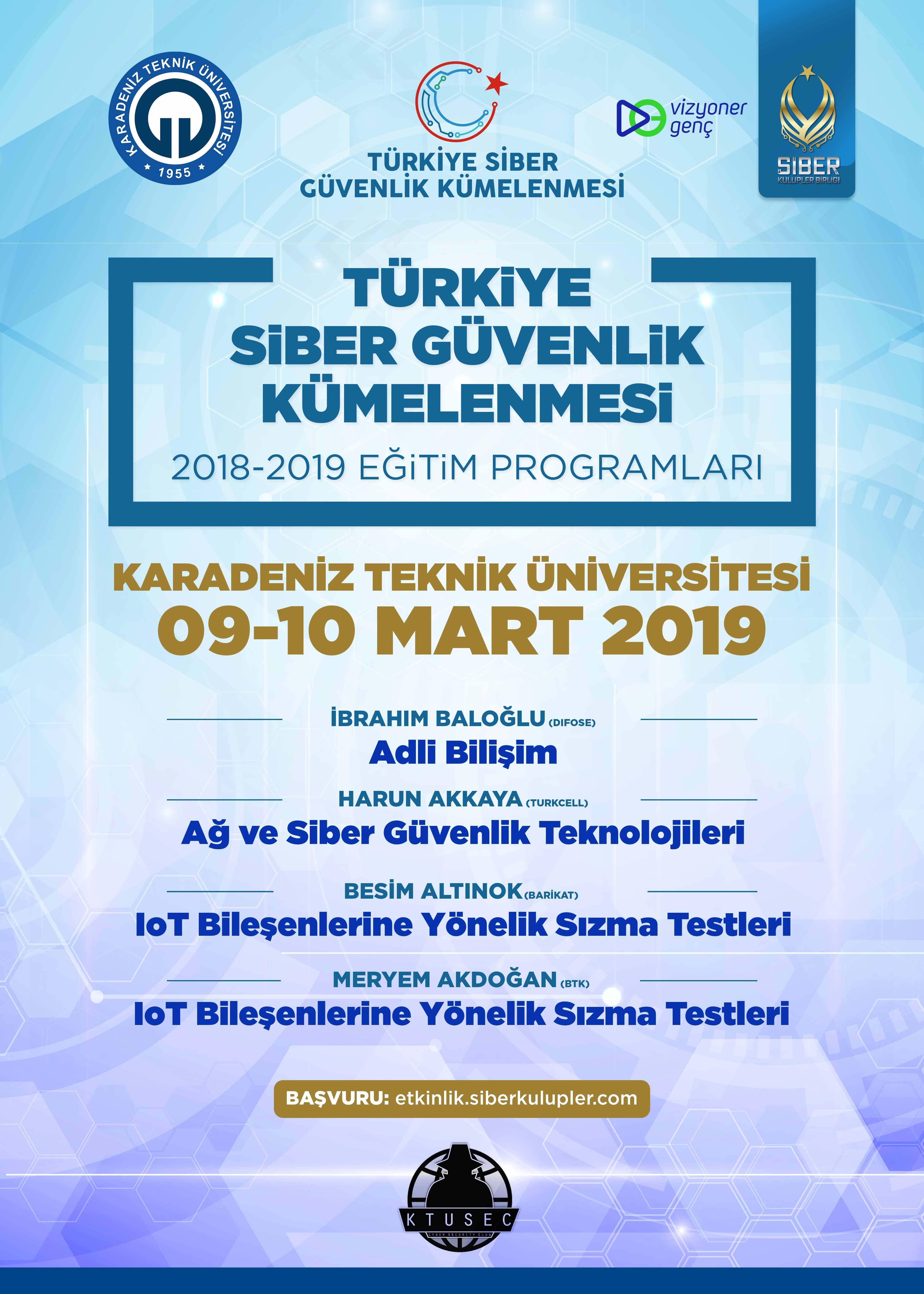 Türkiye Siber Güvenlik Kümelenmesi 2018- 2019 Eğitim Programları: Karadeniz Teknik Üniversitesi Eğitimleri