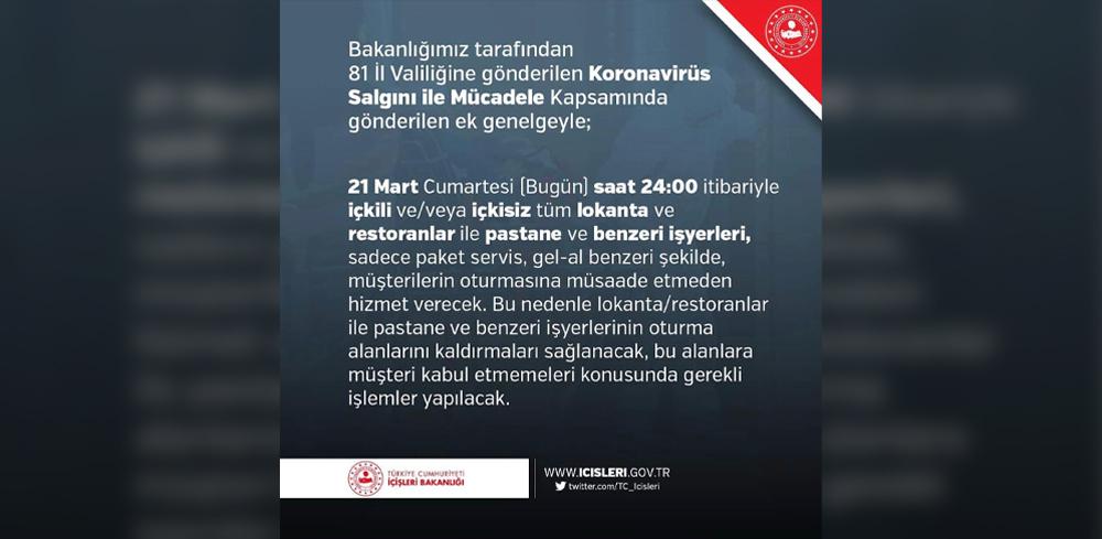T.C. İçişleri Bakanlığı tarafından 81 il Valiliğine gönderilen Koronavirüs Salgını ile Mücadele Kapsamında gönderilen ek genelge.